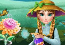 Anna cultive des fleurs