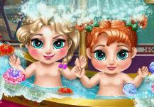 le bain de princesse Anna et Elsa